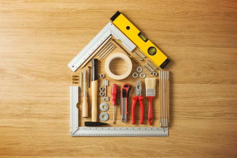 renovation tools in the shape of a house